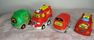 Bundle X4 V Tech Toot Toot Drivers Vehicles 2X Fire Engines 1x Bus 1x Bin Truck