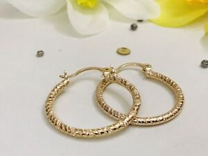 """SALE 9K 9ct """"Gold Filled""""Lovely Patterned Hoop Earrings 28mm Birthday Xmas Pouch"""