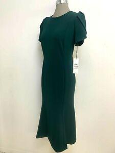 Calvin Klein NWT MALACHITE Tulip Sleeve Flounce Round Neck Midi Dress size 12