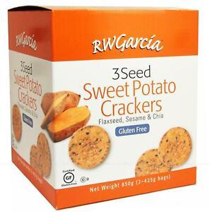 RW Garcia Sweet Potato Crackers 3 Seed Flax Black  White Sesame Gluten Free 850g