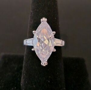 Sterling Silver 925 Large Marquise CZ Cocktail Ring size 8
