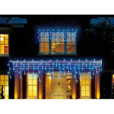 Set of 70 Blue LED Icicle Christmas/Wedding Lights - White Wire - 11.42 ft
