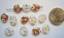 Perlas ovales cristal milflores 10 x 8 mm X 13 UNIDADES transparente y marrón
