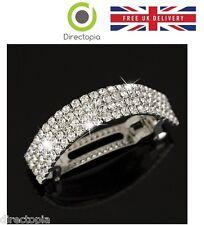Moda Plata Diamante Cristal Boda Dama de honor de Clip Cabello declaración Pieza CR
