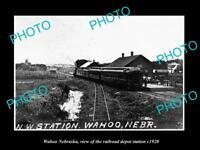 OLD LARGE HISTORIC PHOTO OF WAHOO NEBRASKA, THE RAILROAD DEPOT STATION c1920