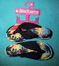 NEW Women's Dearfoams Black Floral Flip-Flop Sandals Memory Foam * Sz 5-6 Small