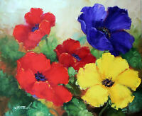 Poppies Flower Garden Red Blue Yellow 24X20 Oil On Canvas Painting STRETCHED