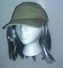 Party On Washed Denim Cotton Adjustable Baseball Cap With Attached Grey Hair Hat