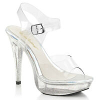 Fabulicious COCKTAIL-508MG Womens Clear Ankle Strap Sandals Glittered High Heels