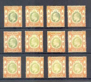 HONG KONG 12 x ST. EDW VII --5 Cents - NO GUM --VF