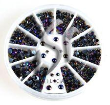 Diamante sfaccettatura STRASS nel Rondell NERO-MULTICOLOR 2mm 3mm strass pietre