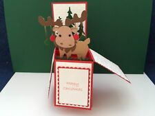Hand made Christmas pop up card Reindeer with baubles design
