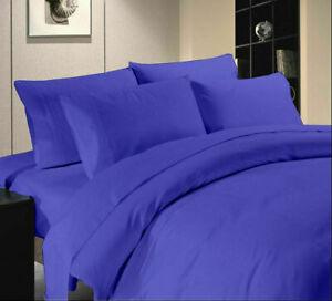 Egyptian Blue Solid Split Corner Bedskirt Choose Drop Length US Size 800 Count