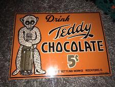 Drink Teddy Chocolate Secrist Bottling Works soda Rockford Tin Advertising Sign