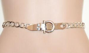 CINTURA ARGENTO donna catena anelli cinta gioiello metallo elegante belt G66
