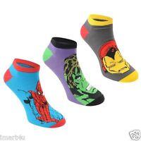 Marvel Kids Character Ankle Socks Hulk Iron Man Spider Man Boys 3 Pack