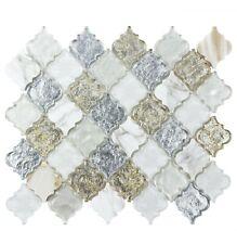 Classic 2X2 Arabesque White Gold Metallic Glossy Glass Stone Mosaic MTO0488