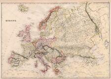 Europa Político. Rusia excluye Georgia. Blackie 1882 Cuadro De Mapa Antiguo Viejo