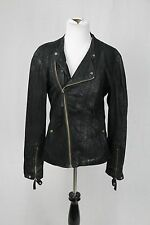 Helmut Lang Black Leather Asymmetrical Moto Biker Jacket Size Small
