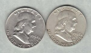 TWO USA 1954D & 1963D FRANKLIN HALF DOLLARS IN GOOD VERY FINE CONDITION.