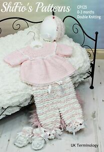 Crochet Pattern for Baby Angel Top, Ruffled Trousers, Bonnet & Booties, Baby ...