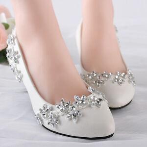 Bling Gems Wedding shoes Bridal bridesmaids flats low high heel pump wedge 5-12