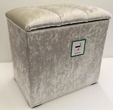 STORAGE BOX / LINEN BOX / DRESSING TABLE STOOL IVORY SHIMMER DELUXE CRYSTAL LID