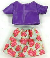 Barbie 2 Piece Outfit Fashionista Floral Skirt & Purple Leather Top