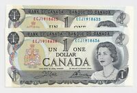 2 x Sequential 1973 $1 Bank of Canada Notes ECJ1918635-6 -  UNC