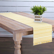 "Daffodil Yellow & Cream 13"" x 72"" Woven Cotton Table Runner with Tassels"
