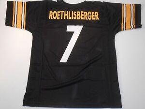 UNSIGNED CUSTOM Sewn Stitched Ben Roethlisberger Black Jersey - M, L, XL, 2XL