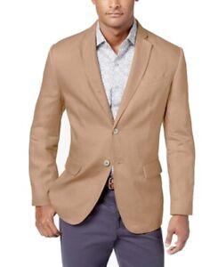 Tasso Elba Mens Suit Jacket Beige Size 2XL Linen Two-Button Blazer $119 002