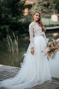 Long Tulle Wedding Skirt + Train Ivory Bridesmaid Engagement Hand Made Side 6
