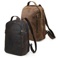 """Vintage Real Leather Backpack For Men 14"""" Laptop Travel Work Daypack School Bag"""