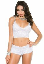 Lingerie Set White 2X Women Plus Cami Bralette Bra Booty Shorts Stretch Lace