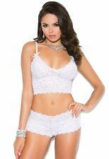 Lingerie Set White 2X Women Plus Cami Bralette Bra Booty Shorts Stretch Lace