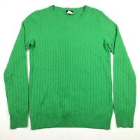 J Crew Womens XS Cashmere Wool Blend Green Cable Knit Crew Neck Sweater
