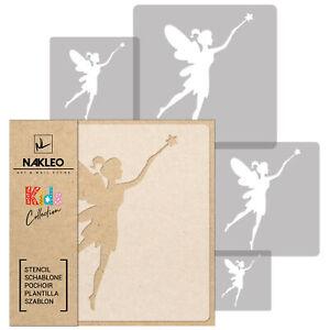 5x stencil riutilizzabili in PLASTICA / da 34x34 cm a 9x9 cm / bambini / FATA