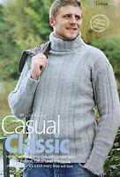 KNITTING PATTERN Mens Ribbed Turtle Neck Jumper Long Sleeve Sweater Sublime