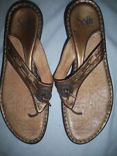 *SOFFT* Copper Slip On Slides Leather SANDALS Shoes Cushy Comfy Women 8 M EC