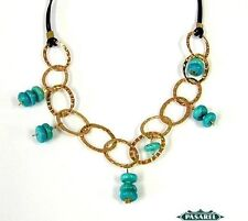 New Rose Gold Filled & Leather Turquoise Necklace