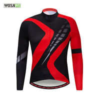 Mens Cycling Jersey Long Sleeve MTB Road Bike Tops Sports Shirts Quick Dry XL