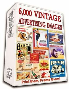+6,000 VINTAGE ADVERTISING POSTERS ON DVD- ALCOHOL BEAUTY FOOD TOBACCO WORLD WAR