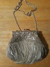 Exquisite Bijoux Terner Evening Formal Purse or Clutch Silver Beaded Convertible