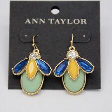 ann taylor jewelry blue cut glass yellow green faux stone fish hook hoop earring