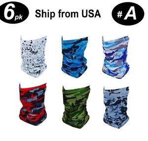 6 PKS USA Stock, Multi-Use Face Mask Head Wrap Neck Gaiter Sweatband Buff