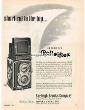 1950 Rolleiflex TLR Medium Format Camera Short Cut To The Top Vtg Print Ad