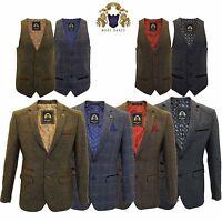 Mens Marc Darcy Blazer Waistcoat Formal Smart Casual Dinner Jacket Lined Tweed