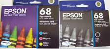 GENUINE epson Ink Cartridges 68 T068 T068120bcs (T0681 T0682 T0683 T0684) No Box