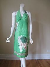 Beth Bowley Green Japanese Floral Printed Cotton Blend Halter Dress 6